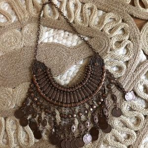 Bohemian bronze coin necklace